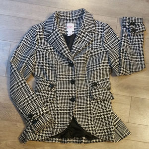 "Candie""s Black and Wite Houndstooth Pea Coat"